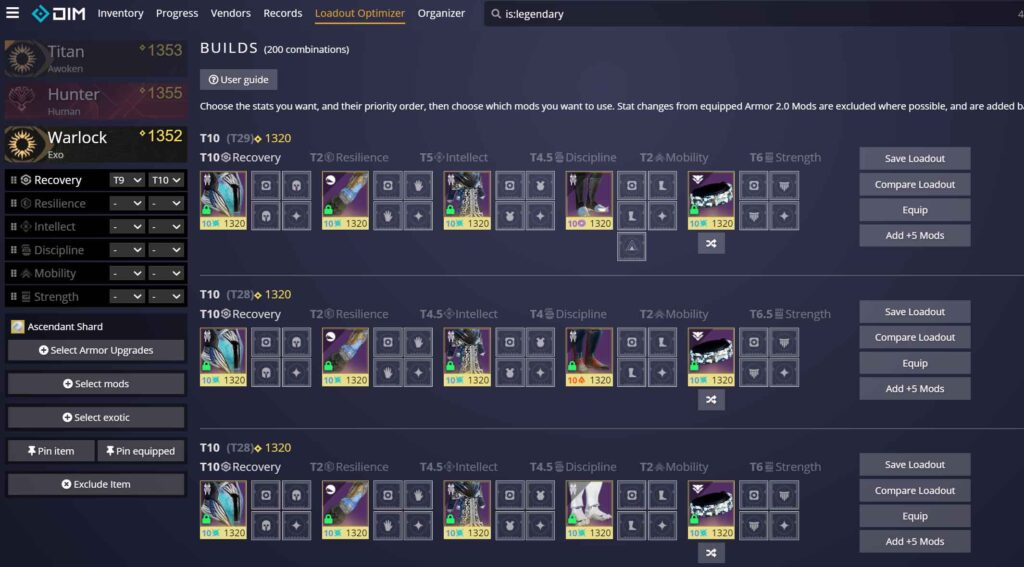 Destiny Item Manager Stat Include T10 to T9 Recovery Vault Cleaning 101